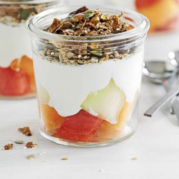 Melon and Crunchy Bran Pots - BBC Good Food