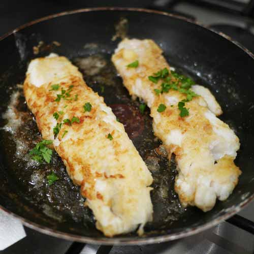 Pan-fried breaded cod